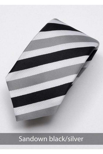 Heirloom sandown Mens Black Silver Stripped Tie - Accessories