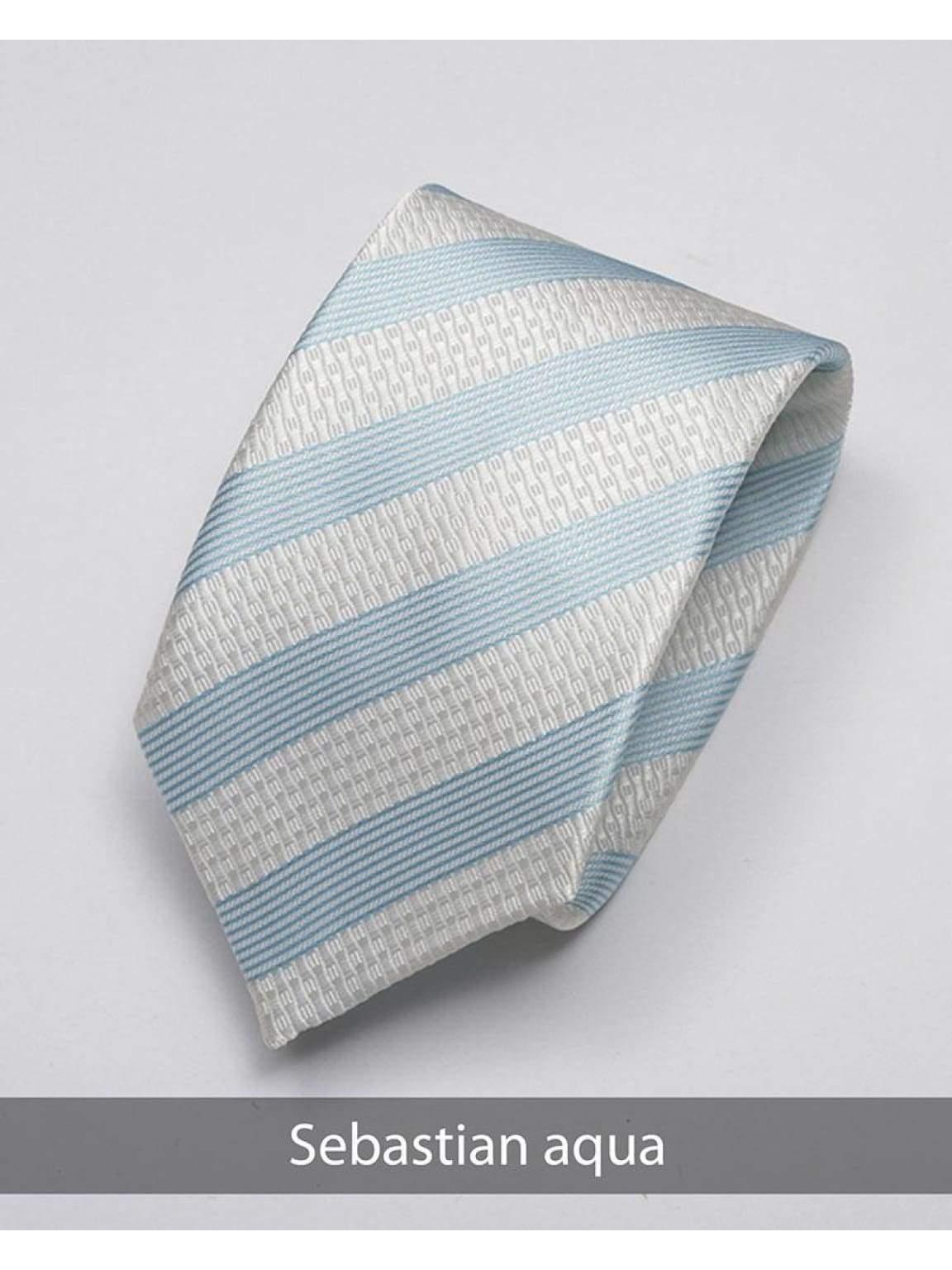 Heirloom Sebastian Mens Aqua Stripped Tie - Accessories
