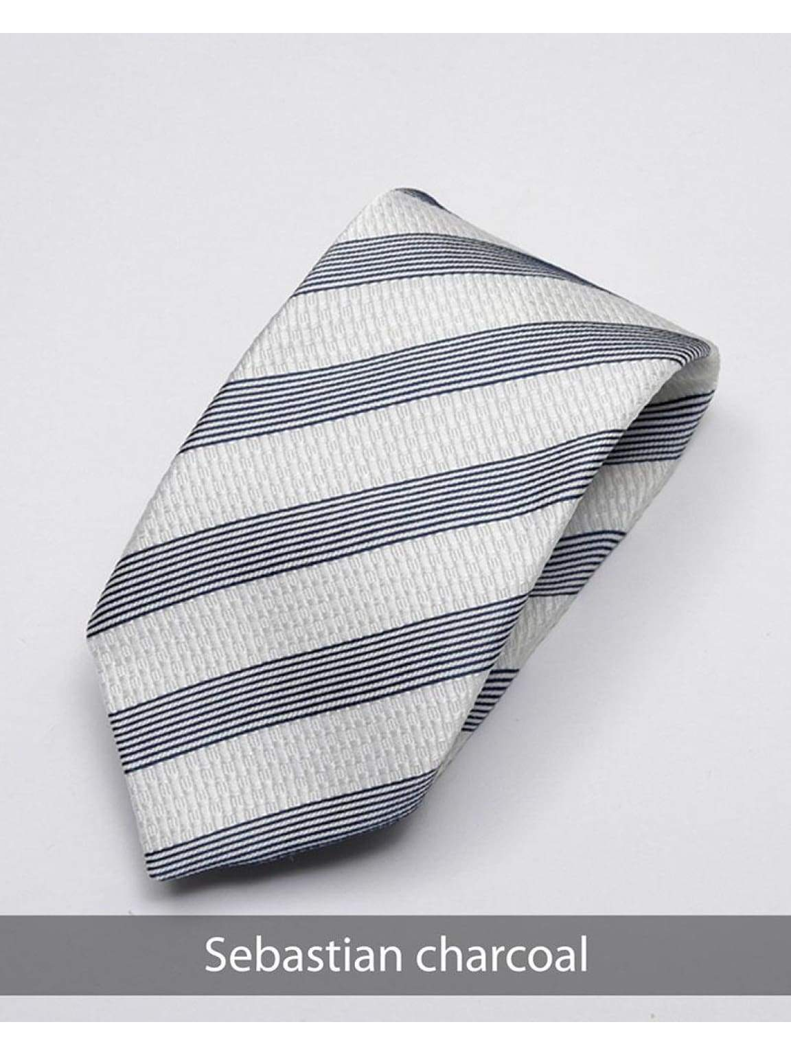 Heirloom Sebastian Mens Charcoal Stripped Tie - Accessories
