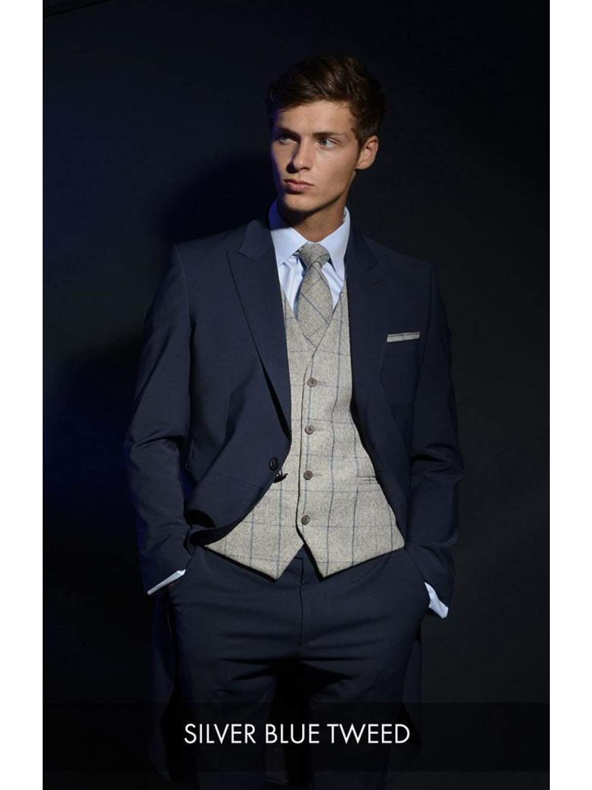 Heirloom Silver Blue Luxury 100% Wool Tweed Waistcoat - 34R - WAISTCOATS