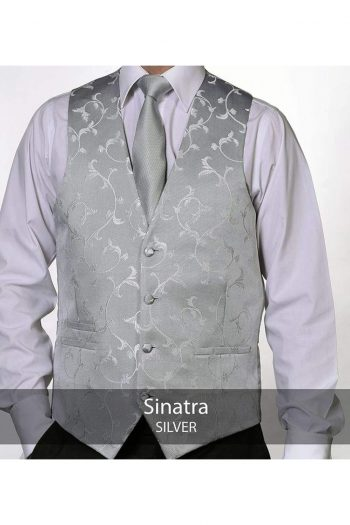 Heirloom Sinatra Mens Silver Luxury Waistcoat - 34R - WAISTCOATS