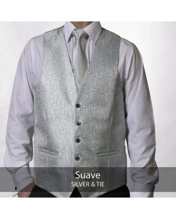 Heirloom Suave Mens Silver Luxury Waistcoat - 34R - WAISTCOATS