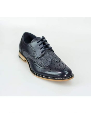 Horatio Navy Tweed Brogue Shoes - Shoes