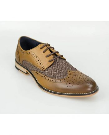 Horatio Tan Tweed Brogue Shoes - Shoes