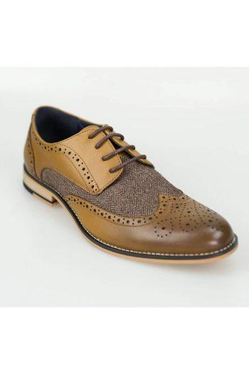 Horatio Tan Tweed Brogue Shoes - Shoes