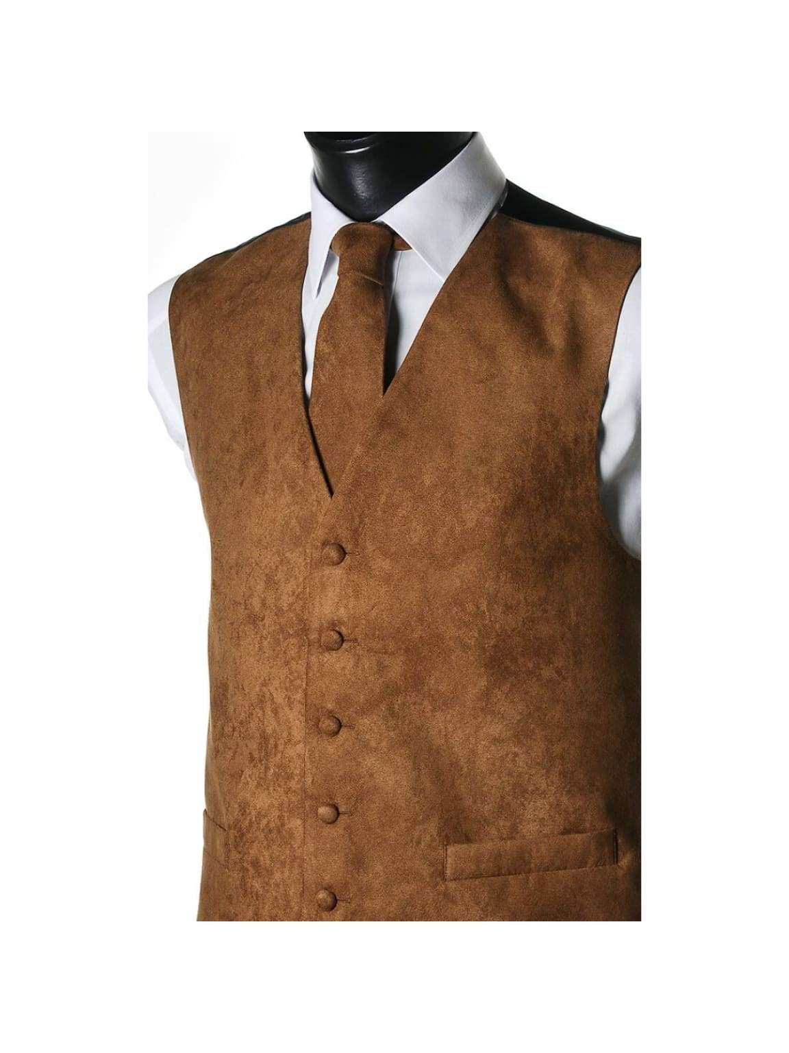 L A Smith Beige Suede Look Waistcoat - Suit & Tailoring