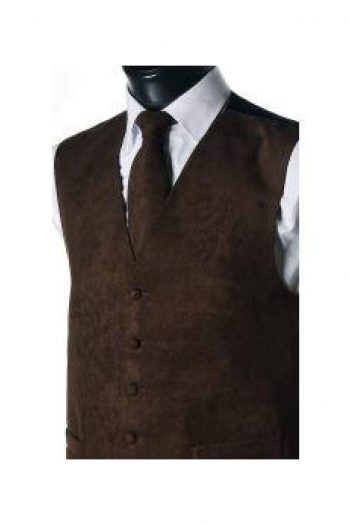L A Smith Brown Suede Look Waistcoat - Suit & Tailoring