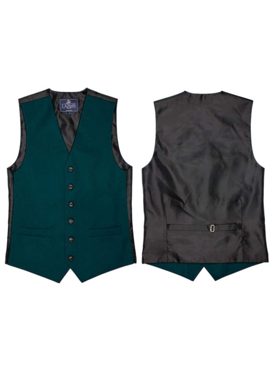L A Smith Dark Teal Plain Country Waistcoat - S - Suit & Tailoring