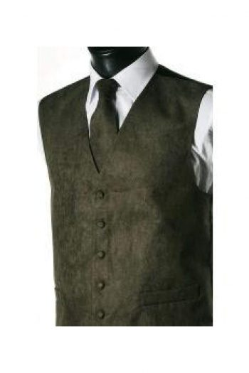 L A Smith Green Suede Look Waistcoat - Suit & Tailoring