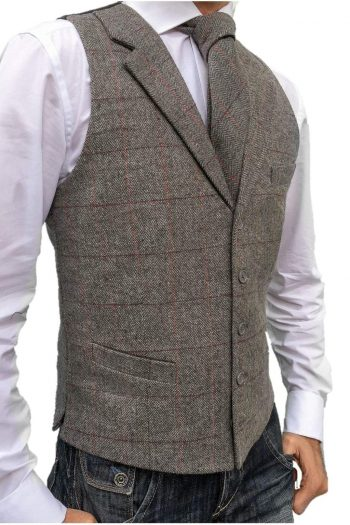 L A Smith Grey Check Lapel Tweed Waistcoat - 36 - Suit & Tailoring