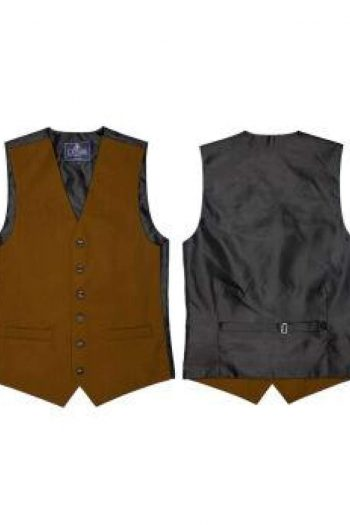 L A Smith Musturd Plain Country Waistcoat - S - Suit & Tailoring
