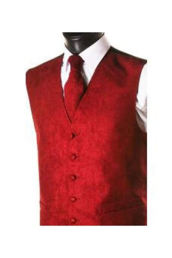 L A Smith Red Suede Look Waistcoat - S - Suit & Tailoring