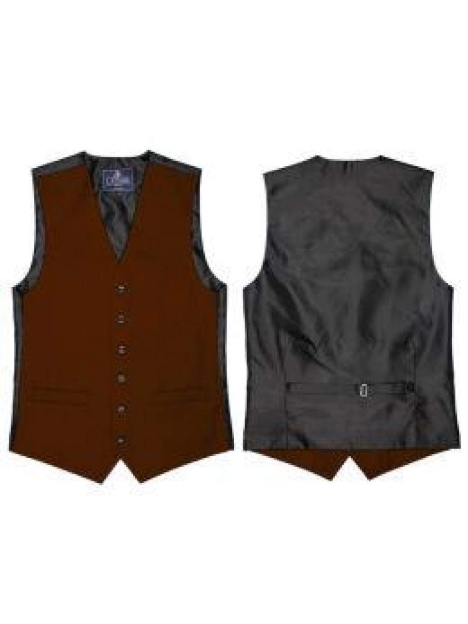 L A Smith Rust Plain Country Waistcoat - S - Suit & Tailoring