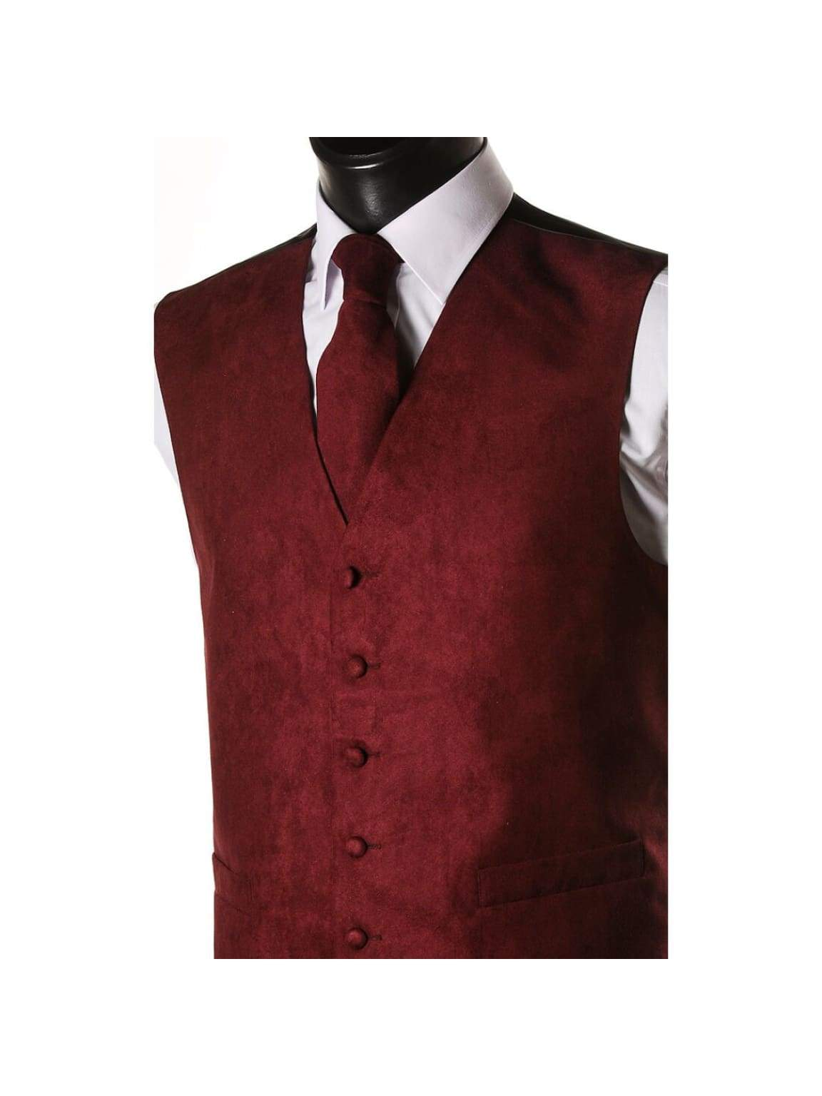 L A Smith Wine Suede Look Waistcoat - S - Suit & Tailoring