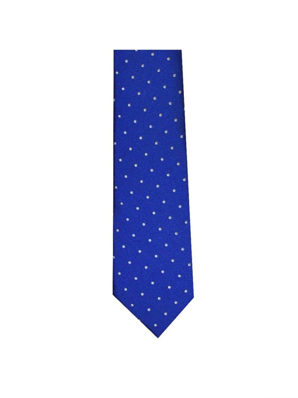 LA Smith Blue And White Skinny Polka Dot Tie - Accessories