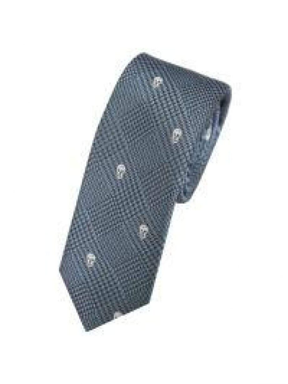 LA Smith Blue Skinny Skull Tie - Accessories