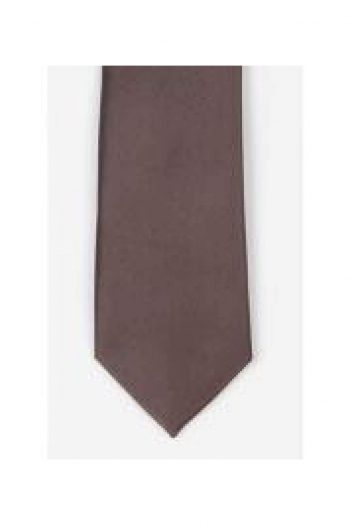 LA Smith Brown Skinny Satin Tie - Accessories