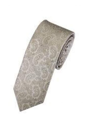 LA Smith Champagne Skinny Paisley Tie - Accessories