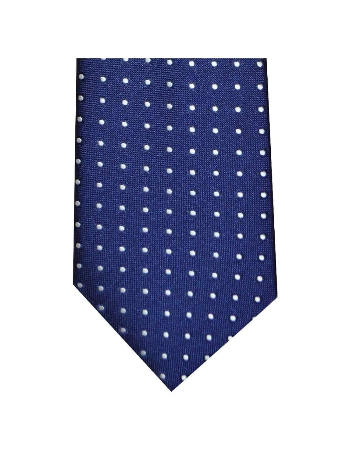 LA Smith Classic Navy White Polka-Dots Tie - Accessories