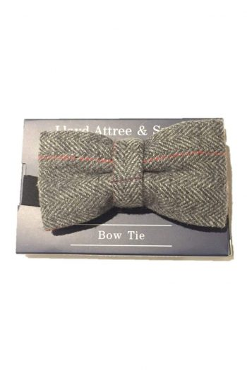 LA Smith Grey Check Tweed Bow Tie - Accessories