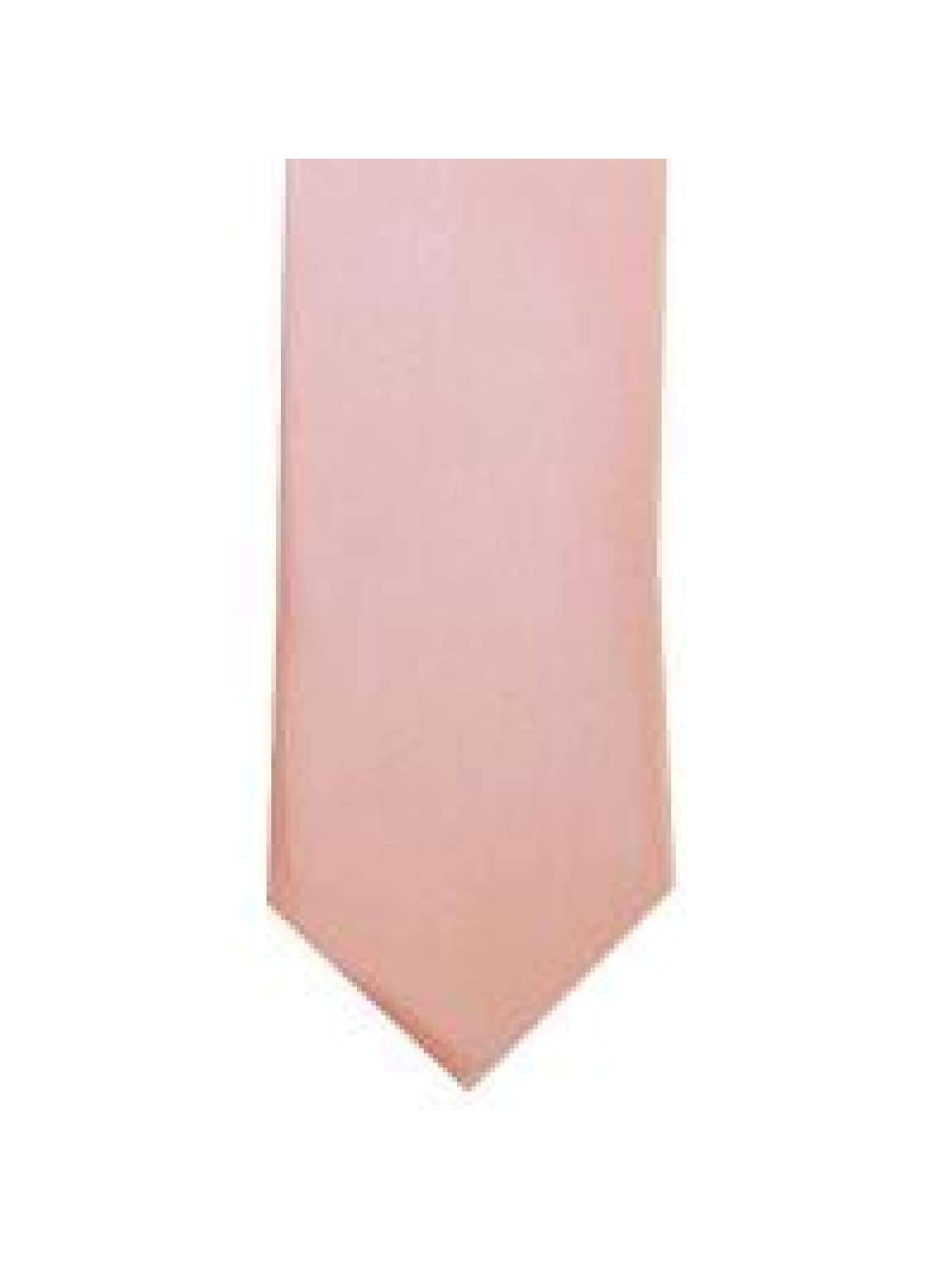 LA Smith Peach Skinny Weft Satin Tie - Accessories
