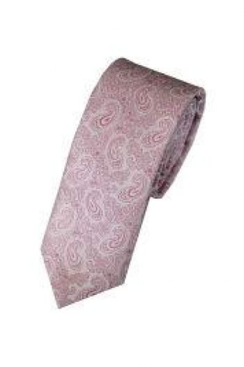 LA Smith Pink Skinny Paisley Tie - Accessories