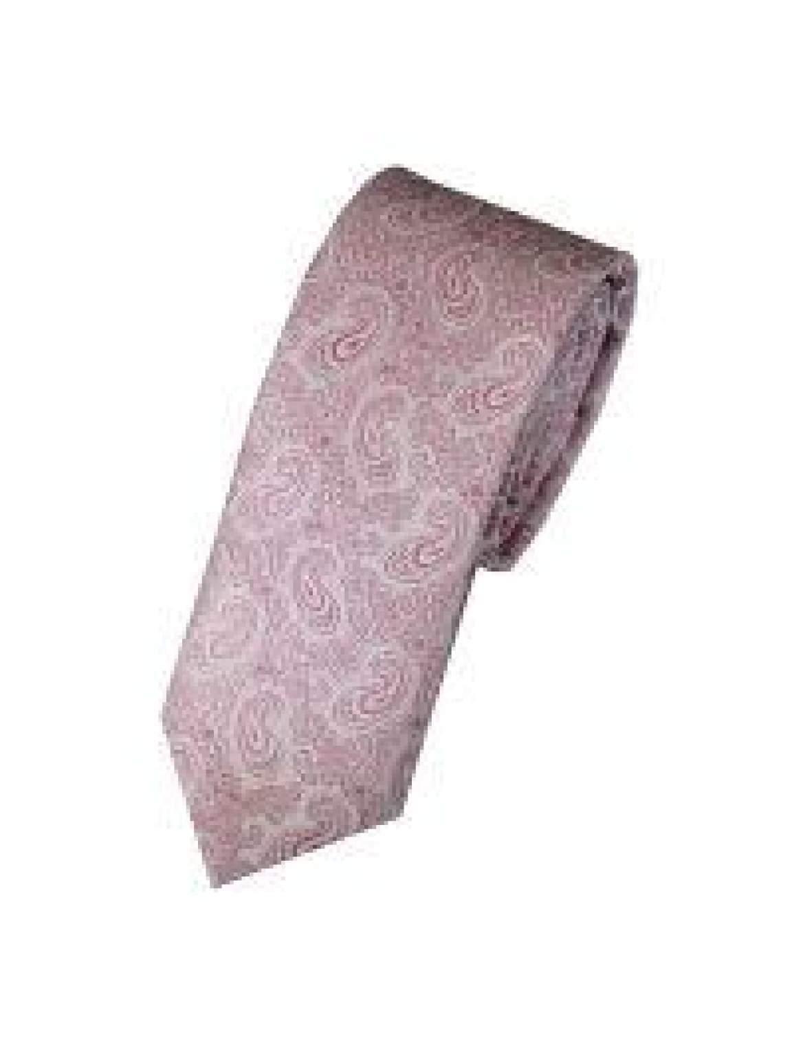 LA Smith Pink Skinny Paisley Tie - Accessories