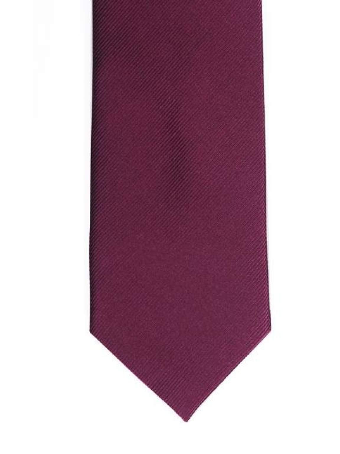 LA Smith Plain Plum Silk Tie - Accessories