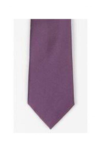 LA Smith Purple Skinny Satin Tie - Accessories