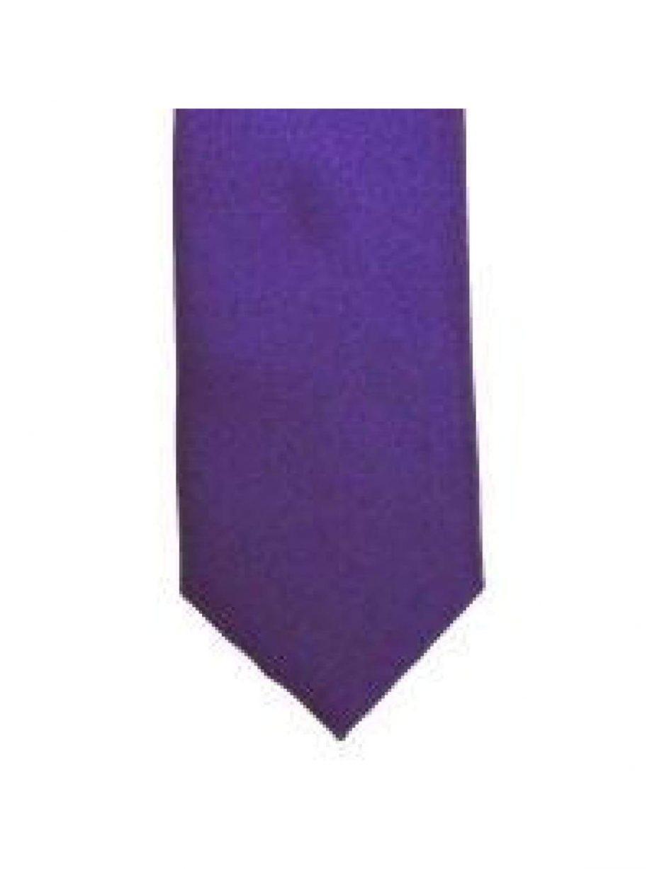 LA Smith Purple Skinny Weft Satin Tie - Accessories