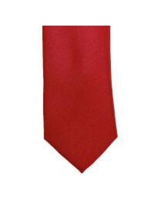 LA Smith Red Skinny Weft Satin Tie - Accessories