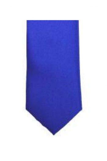 LA Smith Royal Blue Skinny Weft Satin Tie - Accessories