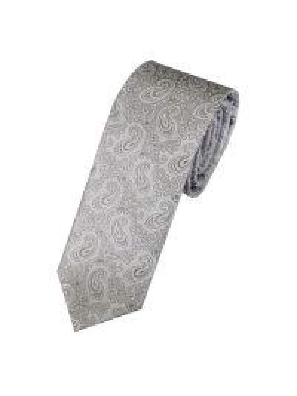 LA Smith Silver Skinny Paisley Tie - Accessories