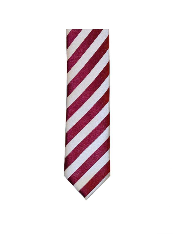 LA Smith Wine And White Skinny Stripe Tie - Accessories