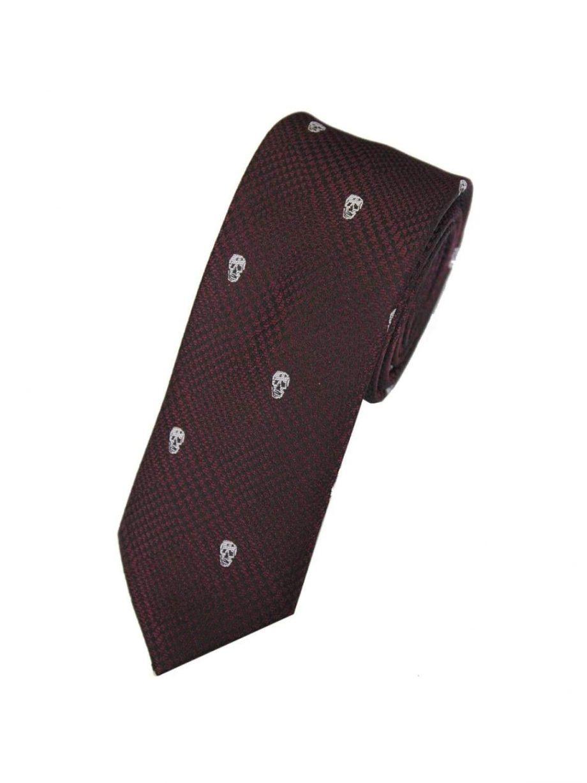 LA Smith Wine Skinny Skull Tie - Accessories