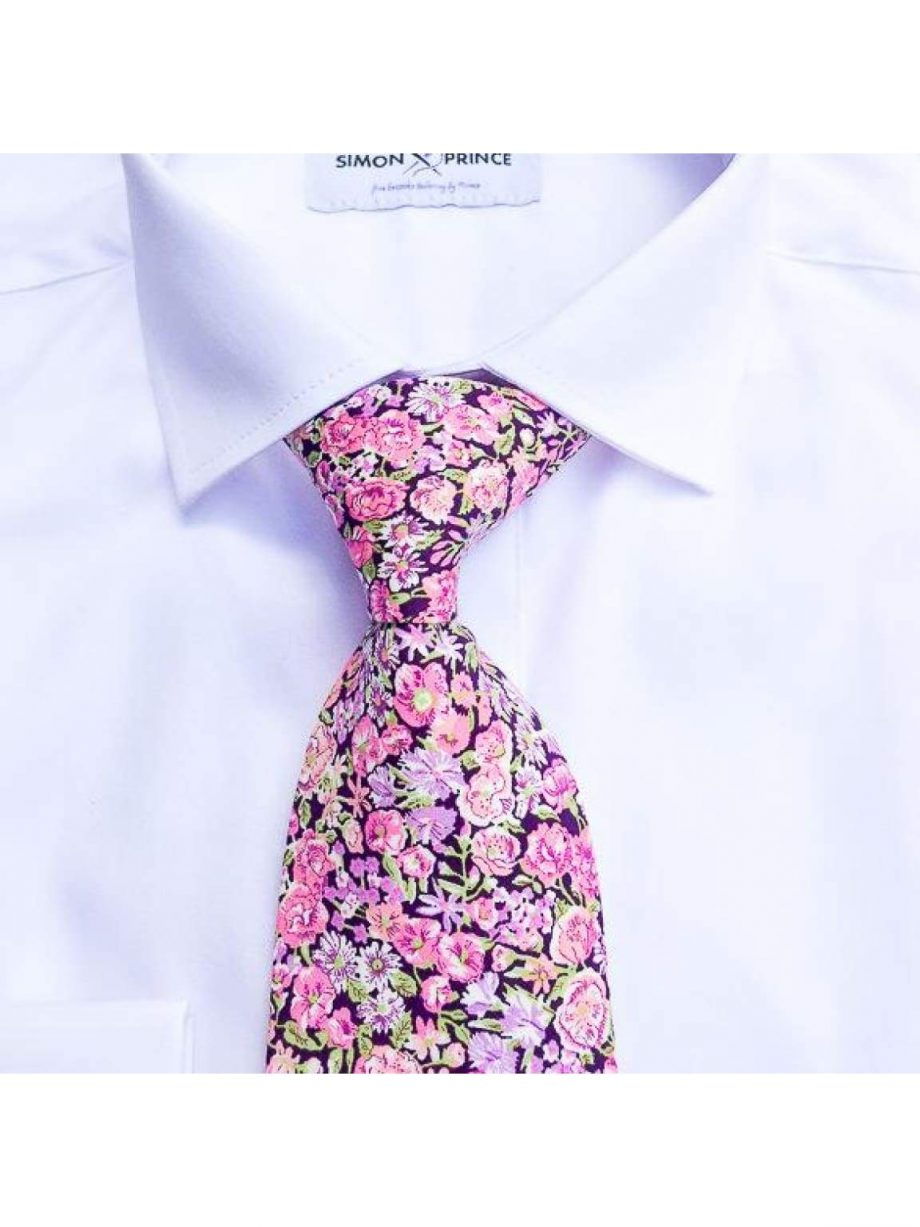 Liberty Fabric Chive Pink Cotton Tie - Accessories