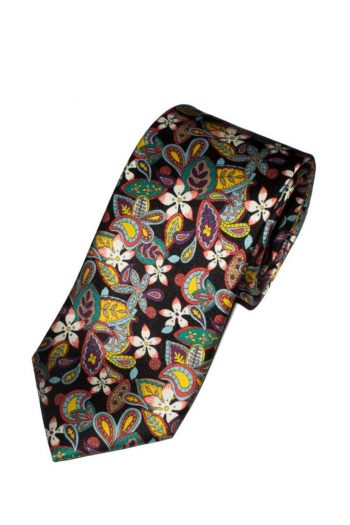 Liberty Fabric Flowers Lemon Black Pure Silk Tie - Accessories