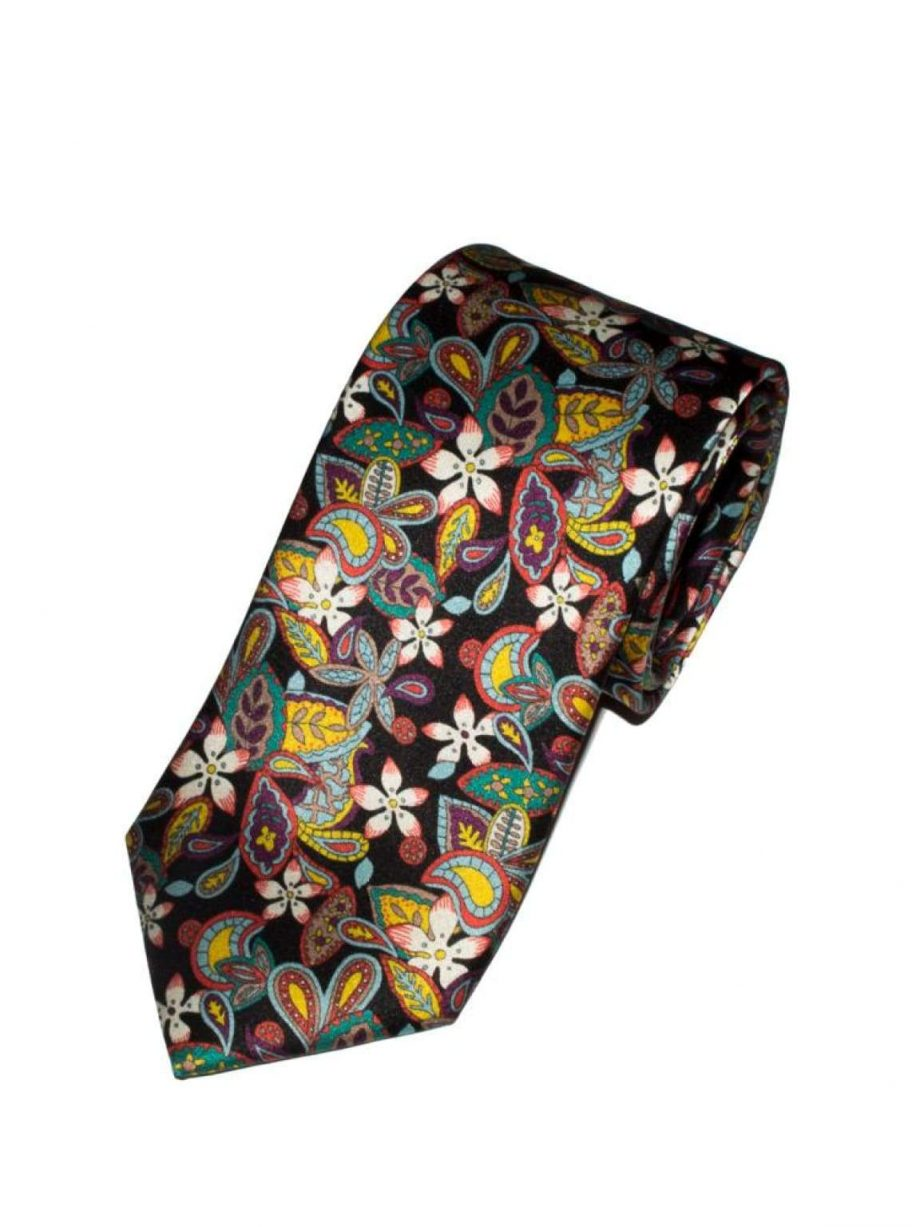 Liberty Fabric Flowers Lemon Black Pure Silk Tie - Accessories