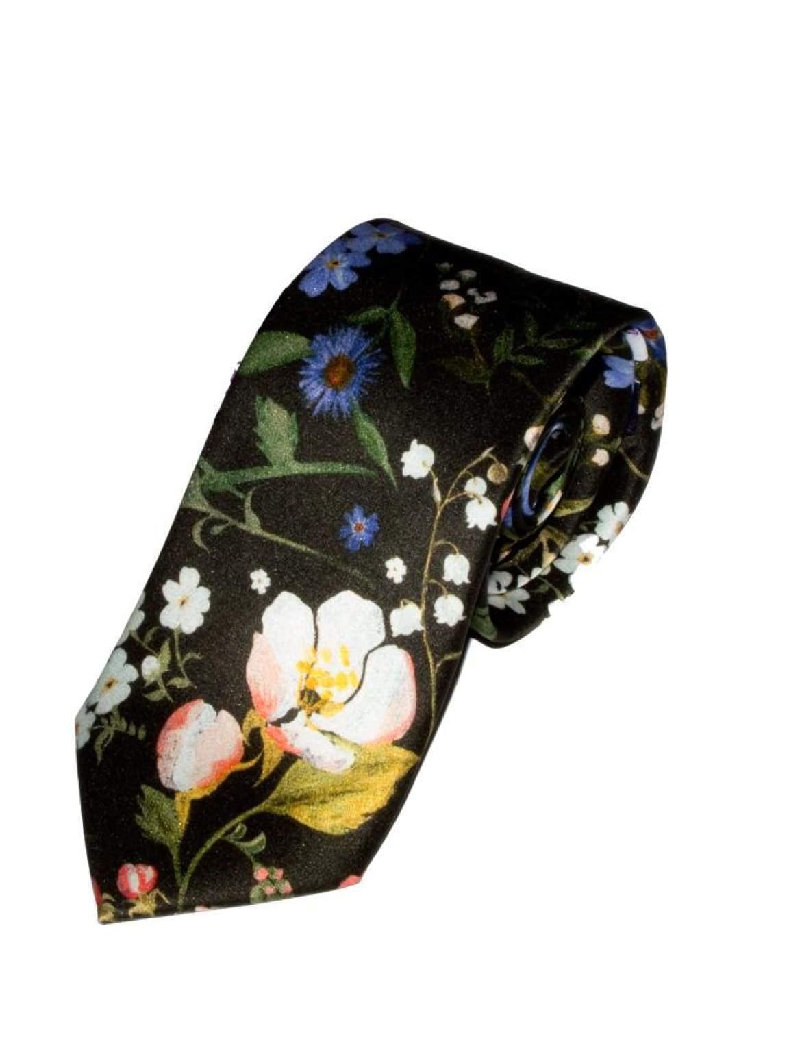 Liberty Fabric Heidi Black Pure Silk Tie - Accessories