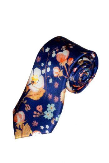 Liberty Fabric Heidi Blue Pure Silk Tie - Accessories