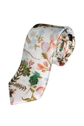 Liberty Fabric Heidi White Pure Silk Tie - Accessories