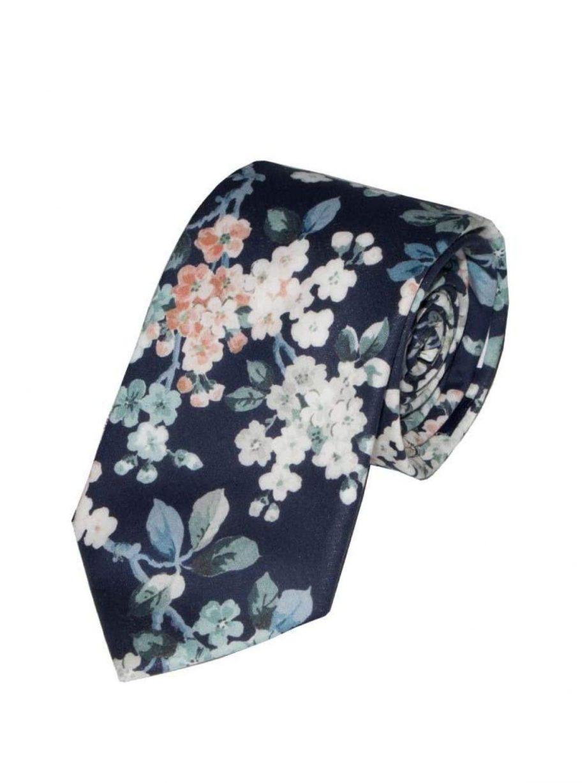 Liberty Fabric Josephine Navy Cotton Tie - Accessories