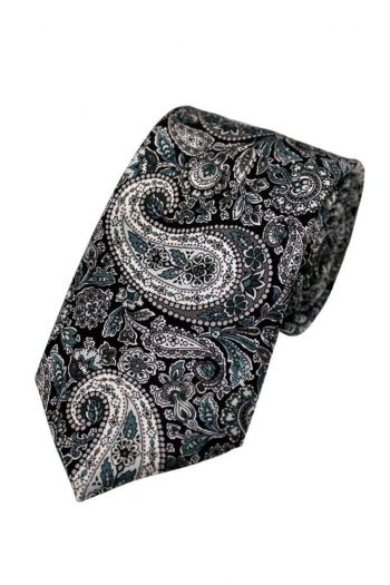 Liberty Fabric Lee Manor Black Pure Silk Tie - Accessories