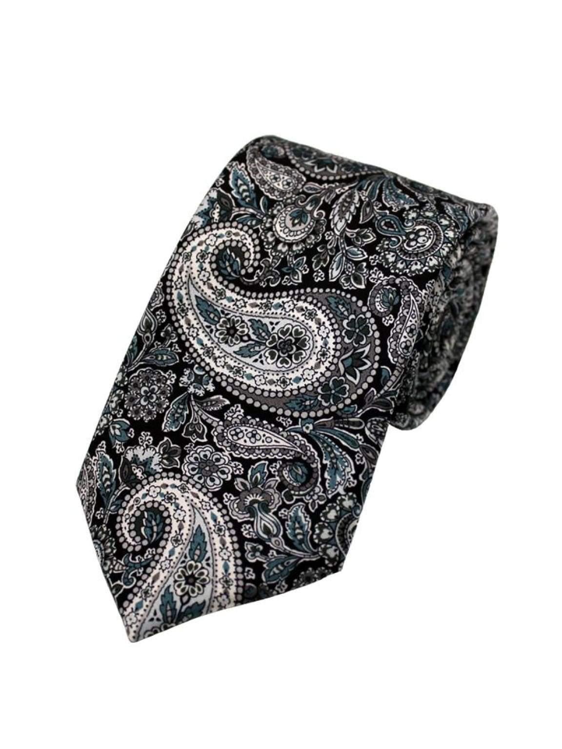 Liberty Fabric Lee Manor Black Pure Silk Tie - Accessories