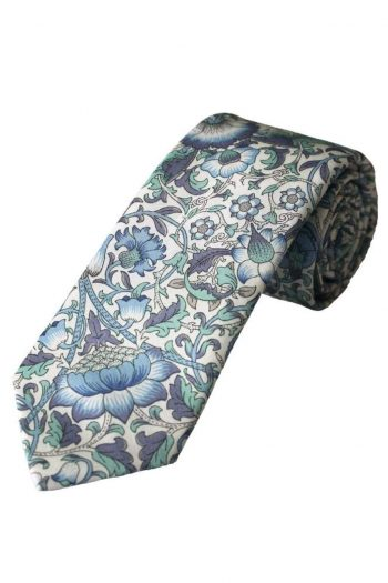 Liberty Fabric Lodden Boys Blue Cotton Tie - Accessories