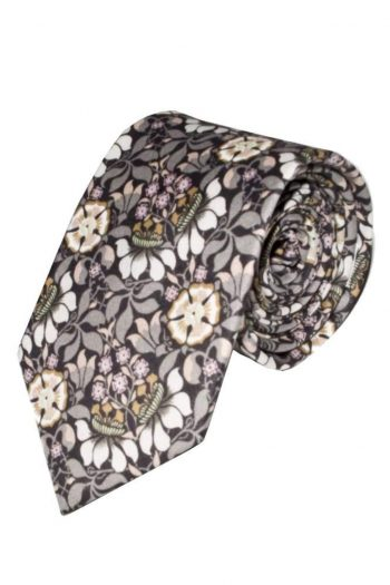 Liberty Fabric Persephone Grey Cotton Tie - Accessories