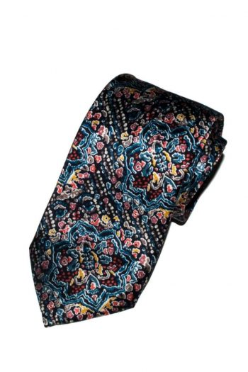 Liberty Fabric Ruby Templar Blue Red Pure Silk Tie - Accessories