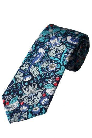 Liberty Fabric Strawberry Thief Boys Blue Cotton Tie - Accessories