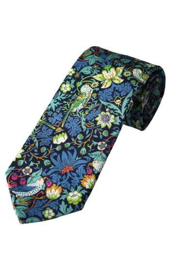 Liberty Fabric Strawberry Thief Boys Green Cotton Tie - Accessories