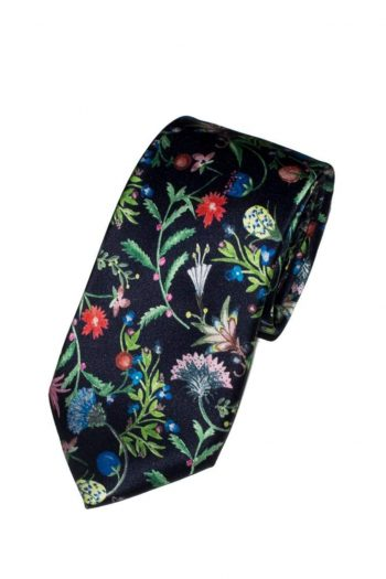 Liberty Fabric Temptation Meadow Navy Pure Silk Tie - Accessories